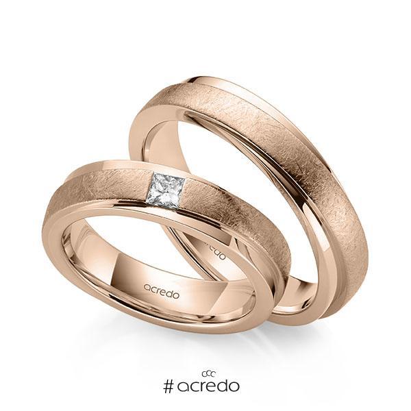 Paar klassische Trauringe/Eheringe in Rotgold 585 mit zus. 0,15 ct. Prinzess-Diamant tw, si von acredo