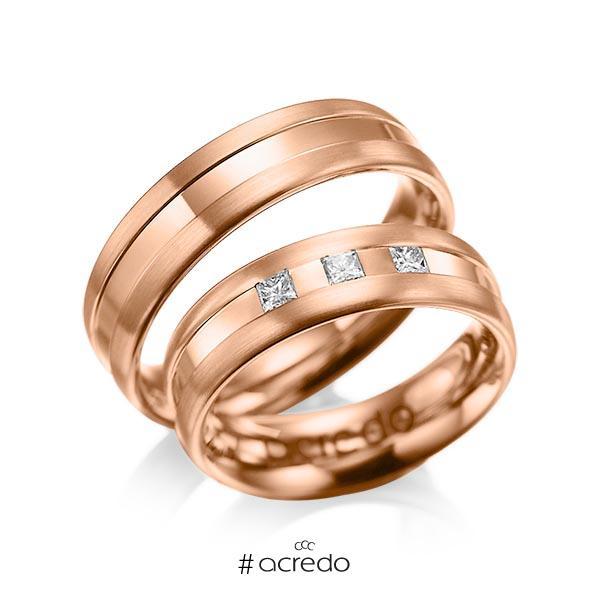Paar klassische Trauringe/Eheringe in Rotgold 585 mit zus. 0,18 ct. Prinzess-Diamant tw, si von acredo