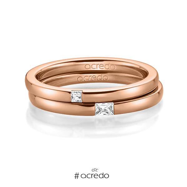 Paar klassische Trauringe/Eheringe in Rotgold 585 mit zus. 0,1 ct. Prinzess-Diamant & Baguette-Diamant tw, si tw, vs von acredo