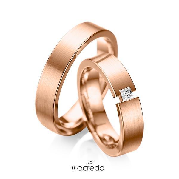 Paar klassische Trauringe/Eheringe in Rotgold 585 mit zus. 0,1 ct. Prinzess-Diamant tw, si von acredo