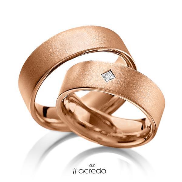 Paar klassische Trauringe/Eheringe in Rotgold 585 mit zus. 0,1 ct. Prinzess-Diamant tw, vs von acredo