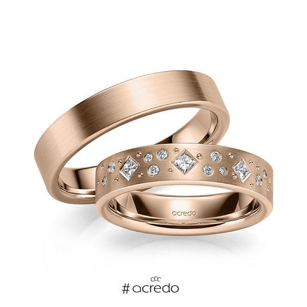 Paar klassische Trauringe/Eheringe in Rotgold 585 mit zus. 0,226 ct. Brillant & Prinzess-Diamant tw, si von acredo