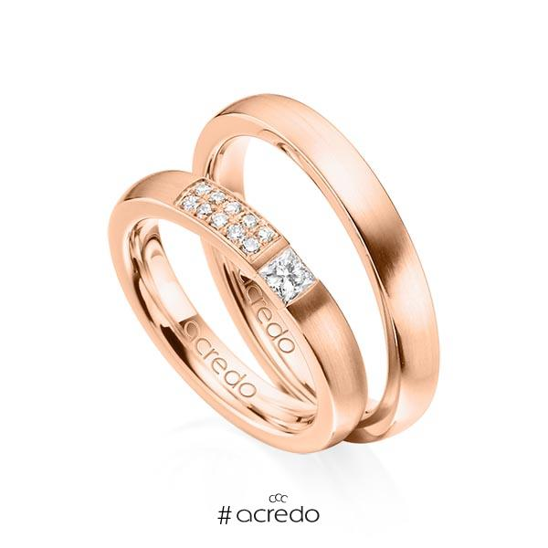 Paar klassische Trauringe/Eheringe in Rotgold 585 mit zus. 0,25 ct. Prinzess-Diamant & Brillant tw, si von acredo