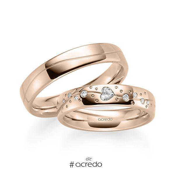 Paar klassische Trauringe/Eheringe in Rotgold 585 mit zus. 0,266 ct. Herz-Diamant & Brillant tw, vs tw, si von acredo