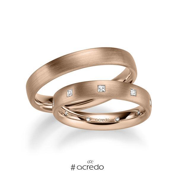 Paar klassische Trauringe/Eheringe in Rotgold 585 mit zus. 0,27 ct. Prinzess-Diamant tw, si von acredo