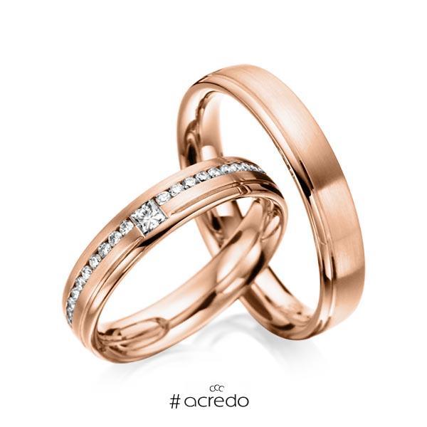 Paar klassische Trauringe/Eheringe in Rotgold 585 mit zus. 0,32 ct. Brillant & Prinzess-Diamant tw, si von acredo