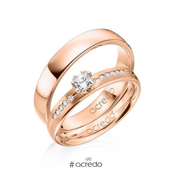 Paar klassische Trauringe/Eheringe in Rotgold 585 mit zus. 0,33 ct. Prinzess-Diamant & Brillant tw, si von acredo