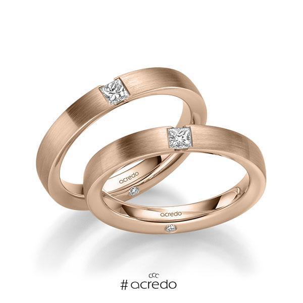 Paar klassische Trauringe/Eheringe in Rotgold 585 mit zus. 0,44 ct. Brillant & Prinzess-Diamant tw, si von acredo