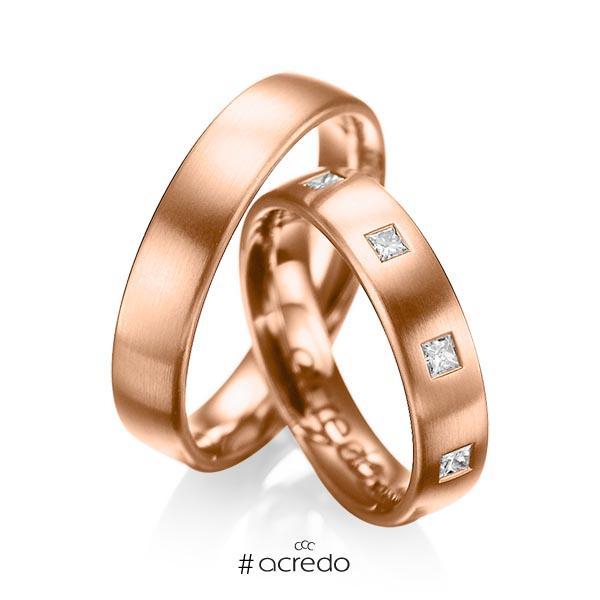 Paar klassische Trauringe/Eheringe in Rotgold 585 mit zus. 0,45 ct. Prinzess-Diamant tw, si von acredo