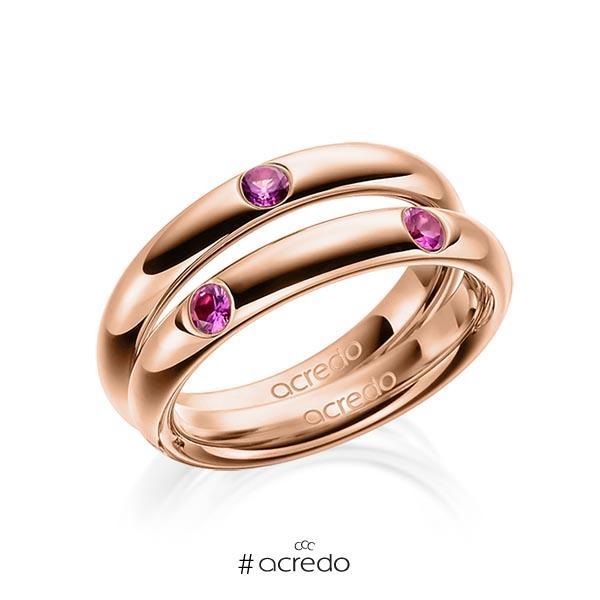 Paar klassische Trauringe/Eheringe in Rotgold 585 mit zus. 0,48 ct. Brillant Saphir Pink (A 10) von acredo