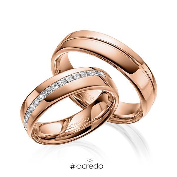 Paar klassische Trauringe/Eheringe in Rotgold 585 mit zus. 0,48 ct. Prinzess-Diamant tw, vs von acredo