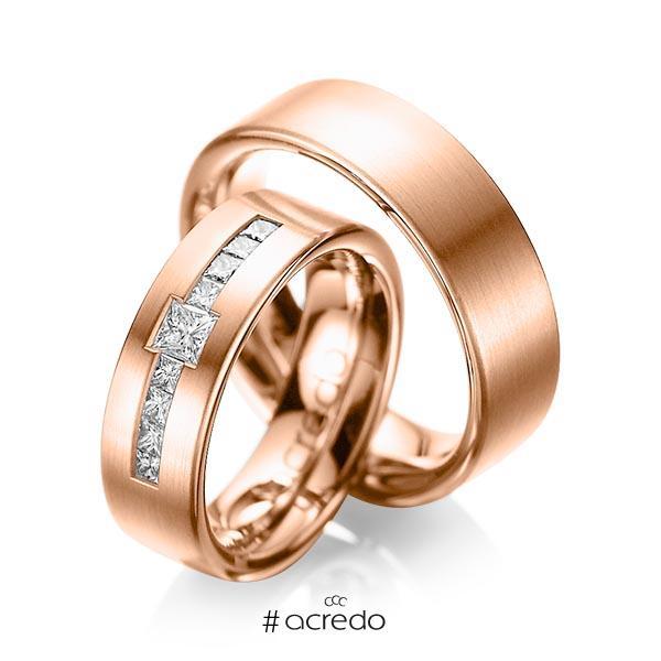 Paar klassische Trauringe/Eheringe in Rotgold 585 mit zus. 0,52 ct. Prinzess-Diamant tw, si von acredo