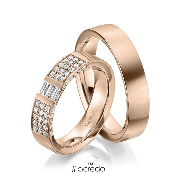 Paar klassische Trauringe/Eheringe in Rotgold 585 mit zus. 0,61 ct. Brillant & Baguette-Diamant tw, si tw, vs von acredo
