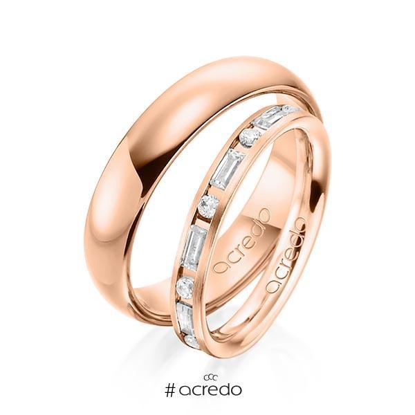 Paar klassische Trauringe/Eheringe in Rotgold 585 mit zus. 0,765 ct. Brillant & Baguette-Diamant tw, si tw, vs von acredo
