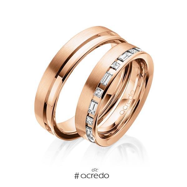 Paar klassische Trauringe/Eheringe in Rotgold 585 mit zus. 0,9 ct. Prinzess-Diamant & Baguette-Diamant tw, si tw, vs von acredo
