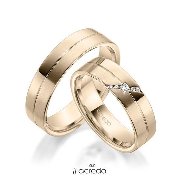 Paar klassische Trauringe/Eheringe in Signature Gold 585 mit zus. 0,05 ct. Prinzess-Diamant & Brillant tw, si von acredo