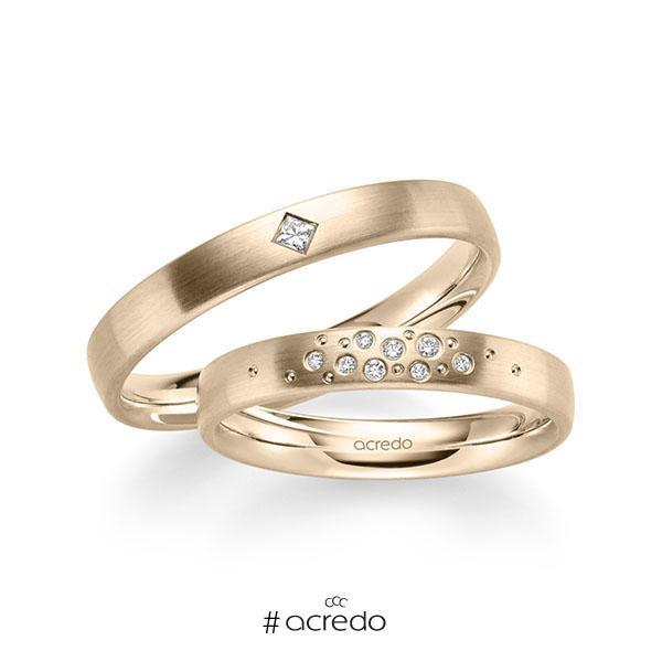 Paar klassische Trauringe/Eheringe in Signature Gold 585 mit zus. 0,081 ct. Brillant & Prinzess-Diamant tw, si von acredo