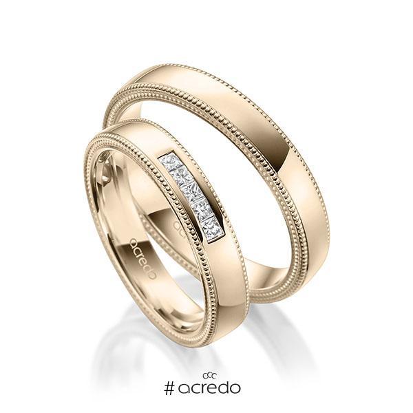Paar klassische Trauringe/Eheringe in Signature Gold 585 mit zus. 0,15 ct. Prinzess-Diamant tw, si von acredo