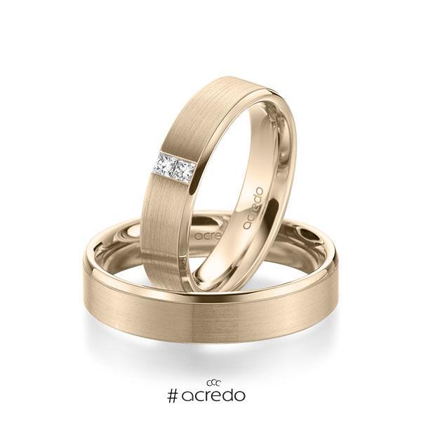 Paar klassische Trauringe/Eheringe in Signature Gold 585 mit zus. 0,1 ct. Prinzess-Diamant tw, si von acredo
