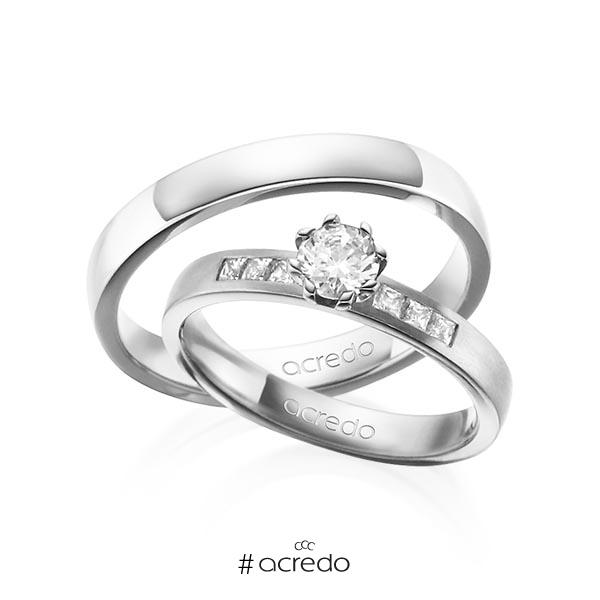 Paar klassische Trauringe/Eheringe in Weißgold 585 mit 0,4 ct. + zus. 0,18 ct. Brillant & Prinzess-Diamant tw, vs tw, si von acredo