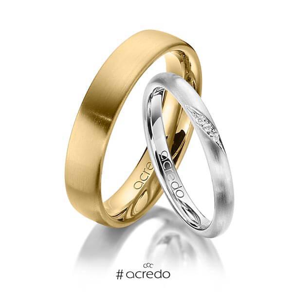 Paar klassische Trauringe/Eheringe in Weißgold 585 mit zus. 0,015 ct. Brillant tw, si von acredo