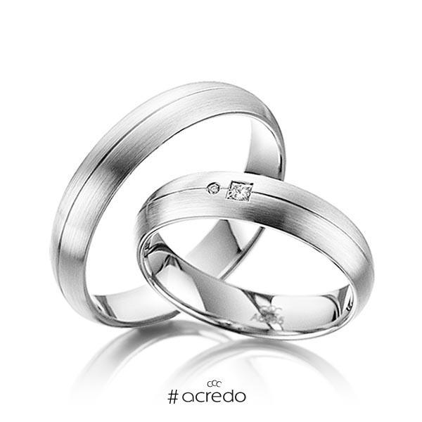 Paar klassische Trauringe/Eheringe in Weißgold 585 mit zus. 0,035 ct. Prinzess-Diamant & Brillant tw, si von acredo