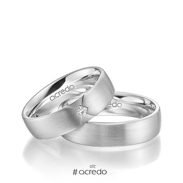Paar klassische Trauringe/Eheringe in Weißgold 585 mit zus. 0,03 ct. Prinzess-Diamant tw, si von acredo