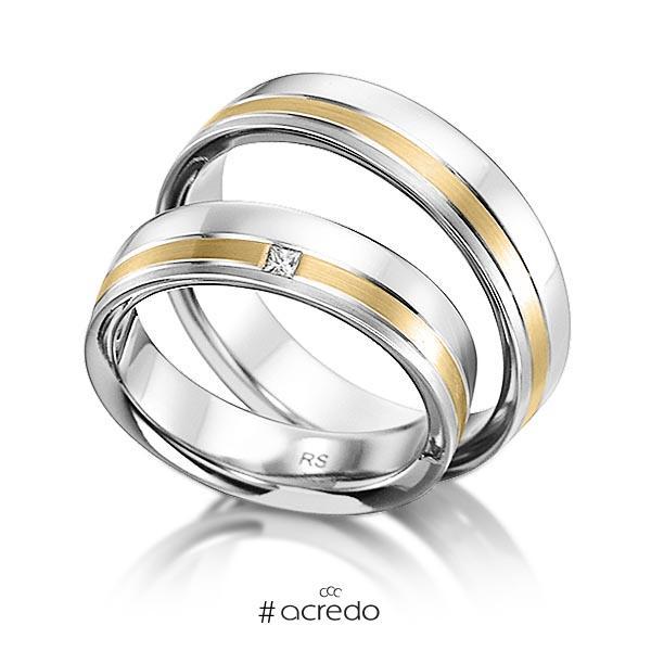 Paar klassische Trauringe/Eheringe in Weißgold 585 mit zus. 0,03 ct. Prinzess-Diamant tw, vs von acredo