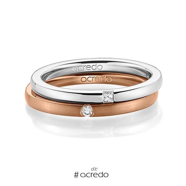 Paar klassische Trauringe/Eheringe in Weißgold 585 mit zus. 0,055 ct. Prinzess-Diamant & Brillant tw, si von acredo