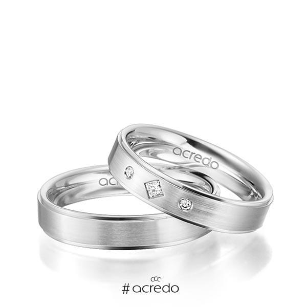 Paar klassische Trauringe/Eheringe in Weißgold 585 mit zus. 0,05 ct. Prinzess-Diamant & Brillant tw, si von acredo