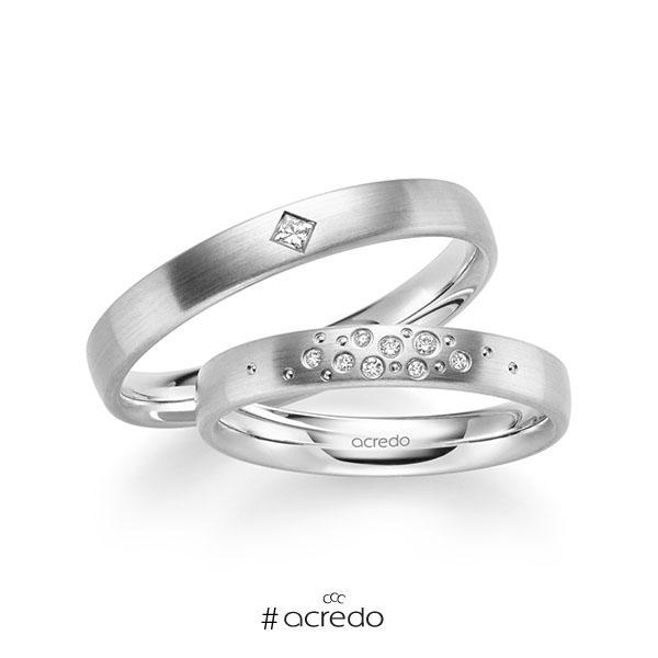 Paar klassische Trauringe/Eheringe in Weißgold 585 mit zus. 0,081 ct. Brillant & Prinzess-Diamant tw, si von acredo