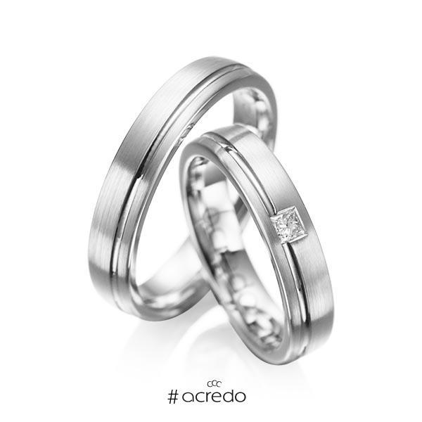 Paar klassische Trauringe/Eheringe in Weißgold 585 mit zus. 0,08 ct. Prinzess-Diamant tw, si von acredo