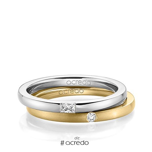 Paar klassische Trauringe/Eheringe in Weißgold 585 mit zus. 0,095 ct. Baguette-Diamant & Brillant tw, vs tw, si von acredo