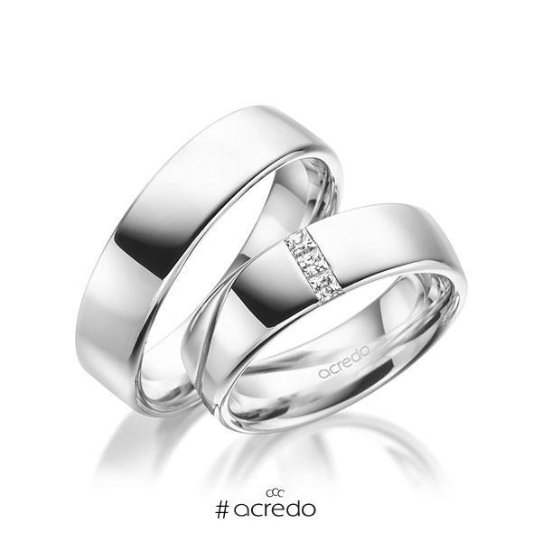 Paar klassische Trauringe/Eheringe in Weißgold 585 mit zus. 0,12 ct. Prinzess-Diamant tw, si von acredo