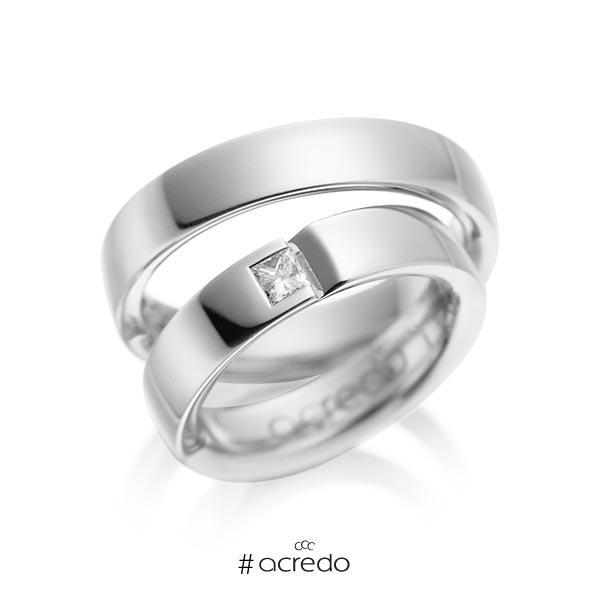 Paar klassische Trauringe/Eheringe in Weißgold 585 mit zus. 0,15 ct. Prinzess-Diamant tw, si von acredo