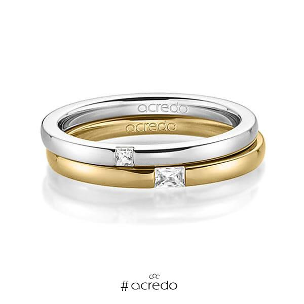 Paar klassische Trauringe/Eheringe in Weißgold 585 mit zus. 0,1 ct. Prinzess-Diamant & Baguette-Diamant tw, si tw, vs von acredo