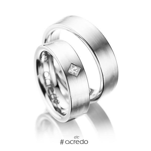 Paar klassische Trauringe/Eheringe in Weißgold 585 mit zus. 0,1 ct. Prinzess-Diamant tw, si von acredo