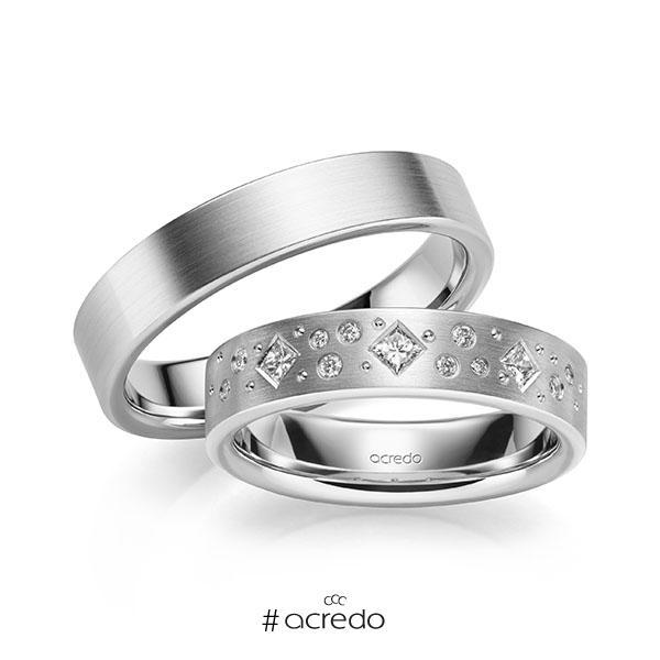 Paar klassische Trauringe/Eheringe in Weißgold 585 mit zus. 0,226 ct. Brillant & Prinzess-Diamant tw, si von acredo