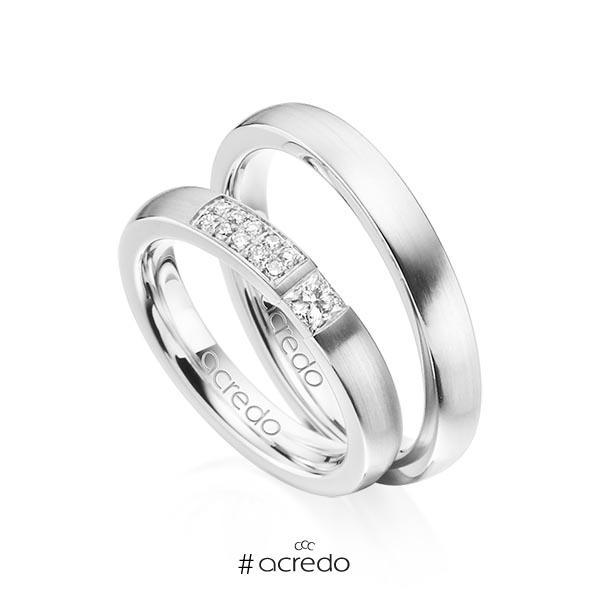 Paar klassische Trauringe/Eheringe in Weißgold 585 mit zus. 0,25 ct. Prinzess-Diamant & Brillant tw, si von acredo