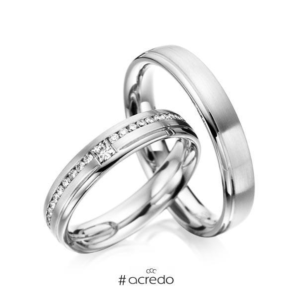 Paar klassische Trauringe/Eheringe in Weißgold 585 mit zus. 0,32 ct. Brillant & Prinzess-Diamant tw, si von acredo
