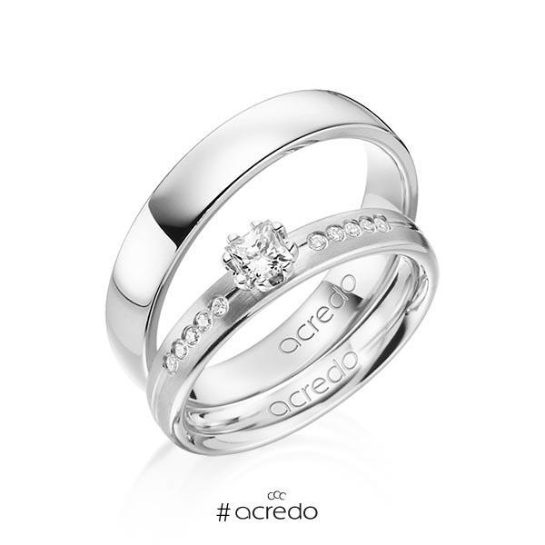Paar klassische Trauringe/Eheringe in Weißgold 585 mit zus. 0,33 ct. Prinzess-Diamant & Brillant tw, si von acredo