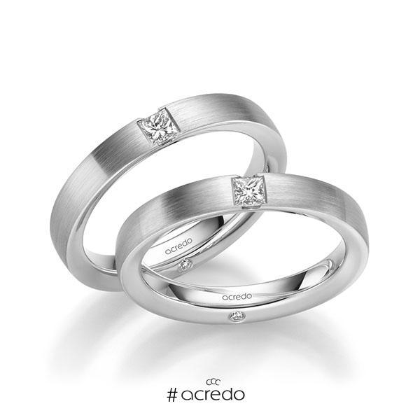 Paar klassische Trauringe/Eheringe in Weißgold 585 mit zus. 0,44 ct. Brillant & Prinzess-Diamant tw, si von acredo