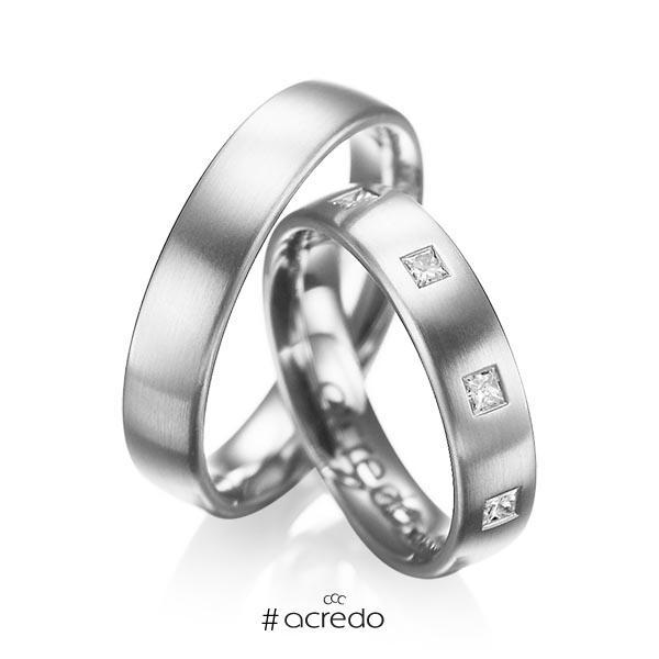Paar klassische Trauringe/Eheringe in Weißgold 585 mit zus. 0,45 ct. Prinzess-Diamant tw, si von acredo