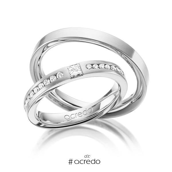 Paar klassische Trauringe/Eheringe in Weißgold 585 mit zus. 0,72 ct. Brillant & Prinzess-Diamant tw, si von acredo