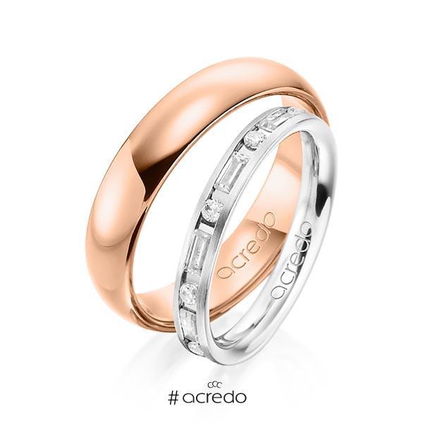 Paar klassische Trauringe/Eheringe in Weißgold 585 mit zus. 0,765 ct. Brillant & Baguette-Diamant tw, si tw, vs von acredo