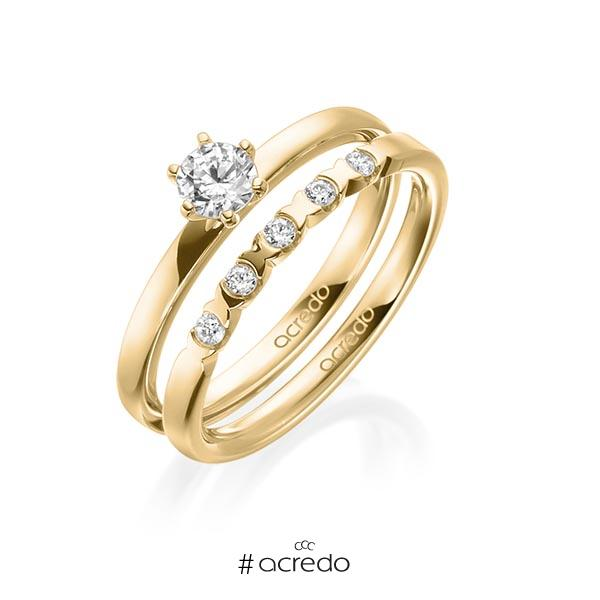 Ring-Set in Gelbgold 585 mit 0,3 ct. + zus. 0,1 ct. Brillant tw, vs von acredo