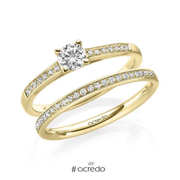 Ring-Set in Gelbgold 585 mit 0,3 ct. + zus. 0,2 ct. Brillant tw, si von acredo