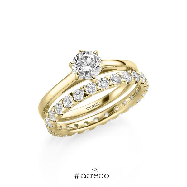 Ring-Set in Gelbgold 585 mit 0,7 ct. + zus. 1,3 ct. Brillant tw, si von acredo