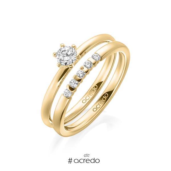 Ring-Set in Gelbgold 750 mit zus. 0,35 ct. Brillant tw, si tw, vs von acredo