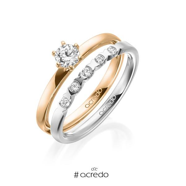 Ring-Set in Roségold 585 mit 0,3 ct. + zus. 0,1 ct. Brillant tw, vs von acredo